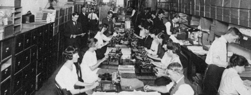 Truii data visualisation, analysis and management Mail order section of Pike Brothers mens outfitters store in Brisbane ca. 1920-crop