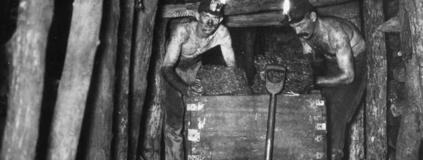 Truii data visualisation, analysis and management Two miners in an underground coal mine at the Queensland Colliery Companys Gauchalland Pit Howard 1920