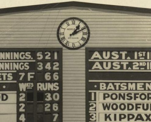 Truii data visualization, analysis and management Scoreboard from the First Test in Brisbane 1928 crop