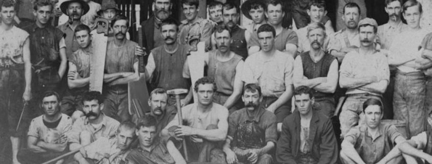 Truii data visualisation, analysis and managemet Workers from the Redbank meatworks lined up at the factory ca. 1900
