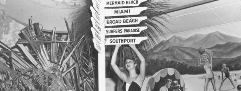 Truii data visualisation, analysis and management Young lady posing as part of a tourist exhibition 1954 -crop